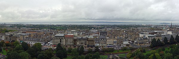 Edinburgh's New Town, viewed from Edinburgh Castle. Princes Street and the Princes Street Gardens are visible in the foreground.