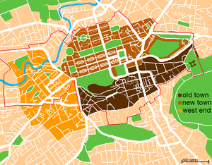 West End, Edinburgh - Map of the city, showing New and Old Towns, as well as the West End.