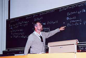 Edsger W. Dijkstra - Dijkstra at the blackboard during a conference at ETH Zurich in 1994