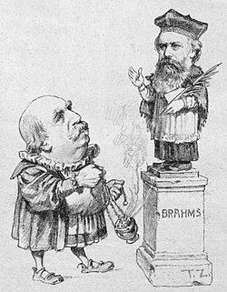 Eduard Hanslick offering incense to Brahms; cartoon from the Viennese satirical magazine, Figaro, 1890 (Source: Wikimedia)