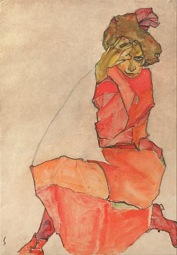 Egon Schiele - Kneeling Female in Orange-Red Dress - Google Art Project