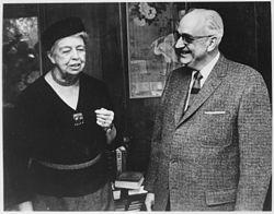 Eleanor Roosevelt and Doctor Karl Menninger in Topeka, Kansas - NARA - 195432.jpg