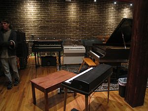 Electrical Audio - Studio A in November 2011, with the adobe bricks in the background and a variety of vintage keyboards visible.