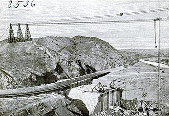 Rio Grande Project - Elephant Butte Dam under construction in 1914.