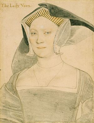 Thomas Vaux, 2nd Baron Vaux of Harrowden - Elizabeth, Lady Vaux. Black and coloured chalks; Royal Collection, Windsor Castle.