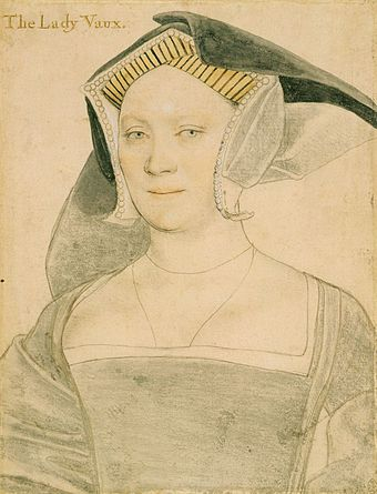 Elizabeth, Lady Vaux. Black and coloured chalks; Royal Collection, Windsor Castle. Elizabeth, Lady Vaux, by Hans Holbein the Younger.jpg