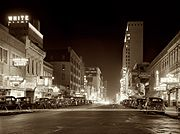 Elm St at night Dallas TX 1942