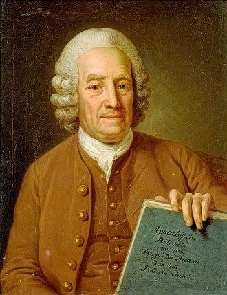 Spiritism - Emanuel Swedenborg, 75, holding the manuscript of Apocalypsis Revelata (1766).