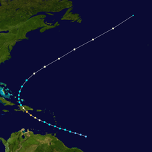 Tracking map of a hurricane. The path depicted in the image starts to the east of the Lesser Antilles and curves into Hispaniola before passing Bermuda.