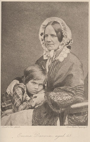 Emma Darwin - Emma with son Leonard, 1853
