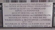Göttingen, Erinnerungstafel für das frühere Prinzenhaus und seine bekannten Gäste (Quelle: Wikimedia)