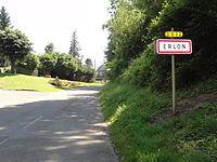 Erlon (Aisne) city limit sign.JPG