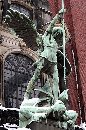 St. Michael's Church, Hamburg - St. Michael's Victory over the Devil, sculpture above the main entrance