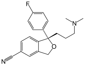 Structural formula of the SSRI escitalopram, i...