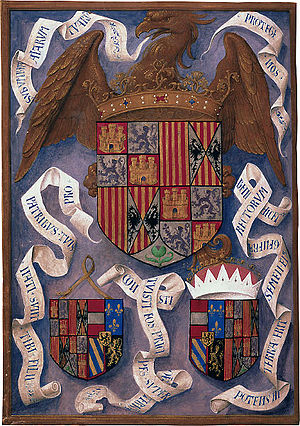 Isabella Breviary - Isabella breviary, Coats of arms of the Catholic Monarchs and of the wedding coules.