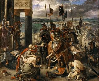 Η είσοδος των Σταυροφόρων στην Κωνσταντινούπολη, του Ευγένιου Ντελακρουά, 1840. Η άλωση της Κωνσταντινούπολης από τους Σταυροφόρους όξυνε τον ελληνικό εθνικισμό και την απέχθεια για τους Λατίνους, κάτι που απεικονίζεται στα έγγραφα της εποχής.