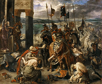 Byzantine Empire under the Angelos dynasty - The Entry of the Crusaders into Constantinople, by Eugène Delacroix (1840, oil on canvas, 410 x 498 cm, Louvre, Paris).