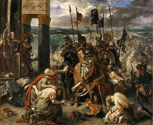 「十字軍のコンスタンティノープルへの入城」 (ウジェーヌ・ドラクロワ、1840年作)第四回十字軍のコンスタンディヌーポリ(コンスタンティノープル)における蛮行が描かれている。