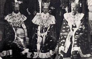 Duchies in Sweden - Dukes Eugen of Närke, Wilhelm of Södermanland and Carl of West Gothland in their coronets attend the 1905 opening of parliament in the Throne Room of Stockholm Palace.