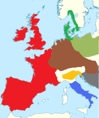 Apennine culture - Western Europe during the Bronze Age: the Apennine culture is in blue, while the Terramare culture is in yellow.