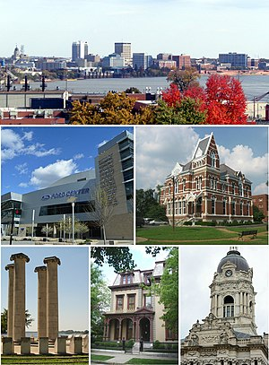 Evansville, Indiana - Top to bottom, left to right: Dress Plaza on the Evansville Riverfront, Ford Center, Willard Library, Four Freedoms Monument, Reitz Home, Old Vanderburgh County Courthouse