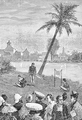 Pacification of Tonkin - Execution of a pirate chief in Hanoi, 1886. Pirates, when captured by the French, did not normally live long