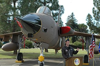Travis Air Force Base Heritage Center - F-105D Thunderchief exhibit opening ceremony with speaker Maj. James Wahleithner