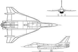 Orthographically projected diagram of an F-16XL