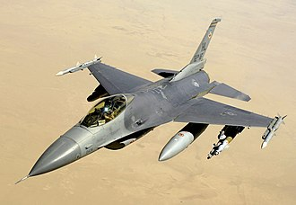 General Dynamics F-16 Fighting Falcon variants - A USAF F-16C over Iraq in 2008