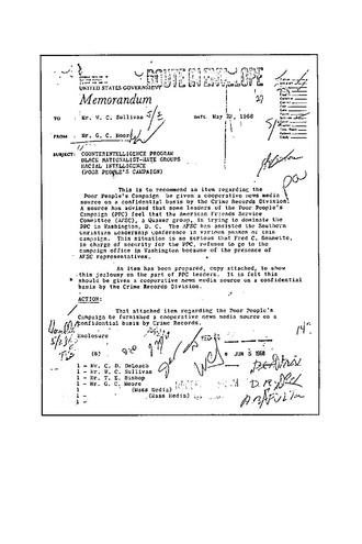 Memo describing FBI attempts to disrupt the Poor People's Campaign with fraudulent claims about King--part of the COINTELPRO campaign against the anti-war and civil rights movements FBI PPC 1.pdf