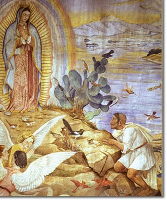 Fernando Leal (artist) - Depiction of the appearance of the Virgin of Guadalupe at the Tepeyac chapel