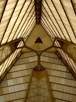 Beth Sholom Congregation (Elkins Park, Pennsylvania) - Image: FLW B Sholom looking up