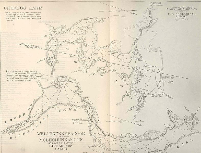 File:FMIB 39007 Umbagog Lake; Wellekennebacook and Molechunkamunk or Lower and Upper Richardson Lakes.jpeg
