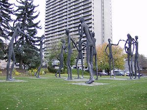Calgary Board of Education - Statues by Mario Armengol outside the CBE's former headquarters
