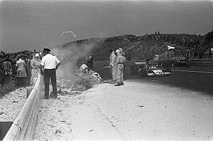Roger Williamson - The scene of Williamson's fatal accident as Gijs van Lennep passes.