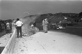 Roger Williamson - The scene of Williamson's fatal accident as Gijs van Lennep passes.