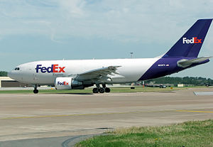 A FedEx Express Airbus A310 taxis for takeoff ...