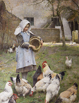 Feeding the chickens, by Walter Frederick Osborne