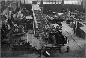 Felixstowe F5L under construction at the Naval Aircraft Factory, Philadelphia, circa 1920.jpg
