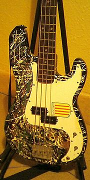 Dublin musician Rob Smith's Squier P-Bass backstage at the Empire Music Hall in Belfast.