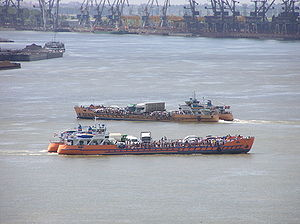 English: The two ferries over the Danube in Ga...