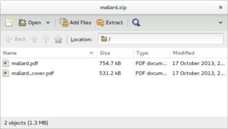 Archive Manager - Image: File roller 3.10.1
