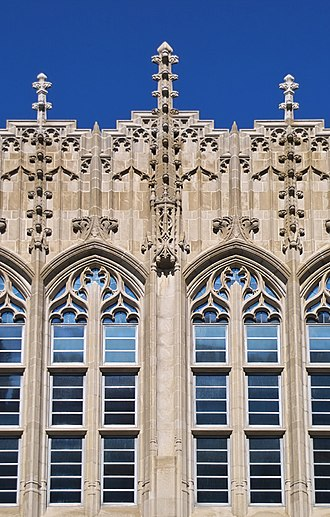Princeton University Library - The ornate front windows of the Firestone Library