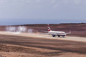 Saint Helena Airport - The Boeing 737-800 implementation flight landing at the airport.
