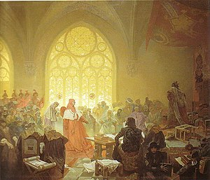 George of Poděbrady - George of Poděbrady – a painting by Alfons Mucha showing Cardinal Fantin explaining the Catholic Church's position on George's election.