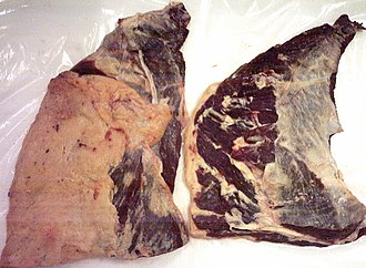 Flank steak - Raw flank steak. The surface layer of fat has been removed from the steak on the right.