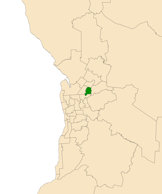 Electoral district of Florey - Electoral district of Florey (green) in the Greater Adelaide area