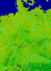 Map showing the position of the Main in Germany