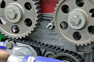 Timing belt (camshaft) - Cosworth BDR engine, with timing belt and pulleys
