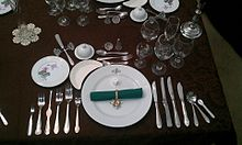 Formal place setting for a 12 course dinner; inidual salt cellar at top of place setting. & Salt cellar - Wikipedia